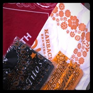 4 Bandanas- Red, Orange, Black, Tan